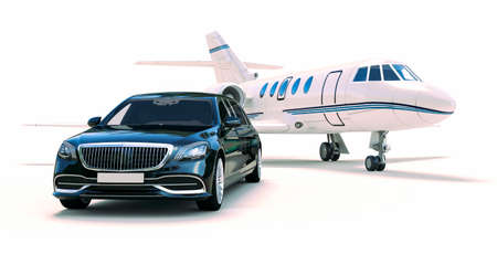 3d rende of luxury limousine car and private jet