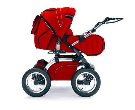 3d baby stroller on white background
