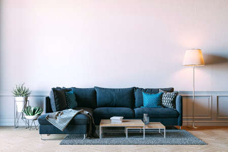 3d rener of beautiful interior render with sofa and white wall