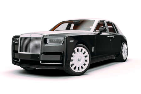3d render of luxury limousine car on white background