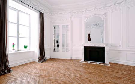 Render 3D del hermoso interior clásico