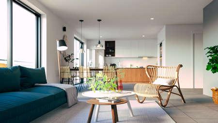 3d beautiful interior living room render Banque d'images - 129494677