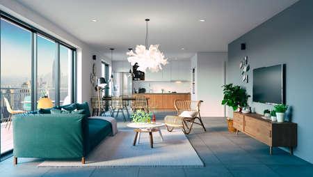 3d beautiful interior living room render Banque d'images - 129494683