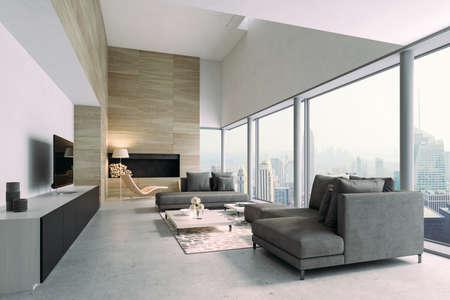 3d beautiful interior living room render Banque d'images - 129494596