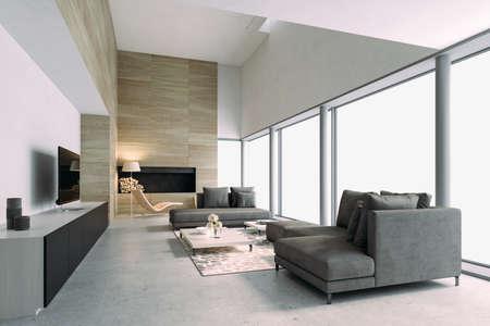 3d beautiful interior living room render Banque d'images - 129494597