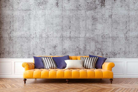 3d beautiful interior with couch and concrete vintage wall Banque d'images - 129494539