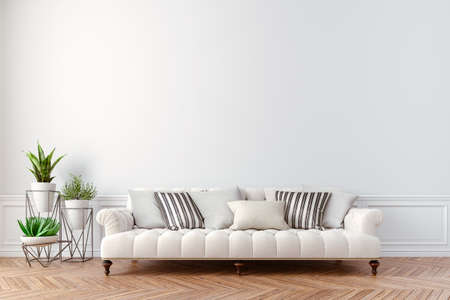 3d beautiful interior with couch and home plant Banque d'images - 129494543