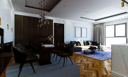 3d render of beautiful interior render Banque d'images - 129494586