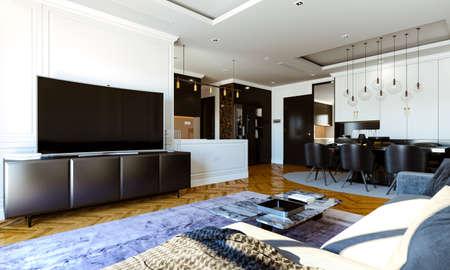 3d render of beautiful interior render Banque d'images - 129494583
