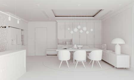 Rendering 3D di un bellissimo rendering di interni Archivio Fotografico