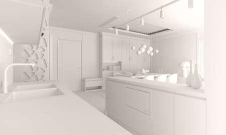 3d render of beautiful interior render Banque d'images - 129494532