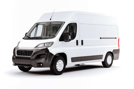Render 3D de vehículo furgoneta blanca sobre fondo blanco.