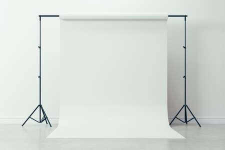 3d image of clean big space photo studio