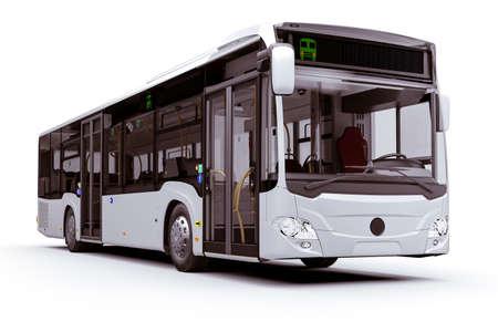 3d render of new city bus, on white background Standard-Bild