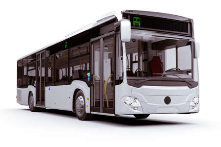 3d render of new city bus, on white background Stockfoto