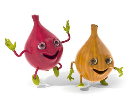 Happy onion friends 3D illustration illustration