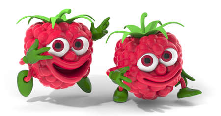 Happy raspberry friends 3D illustration illustration
