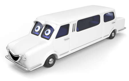 Happy, friendly stretched limousine car 3D illustration illustration