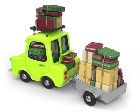 moving down: Car towing overloaded trailer 3D illustration