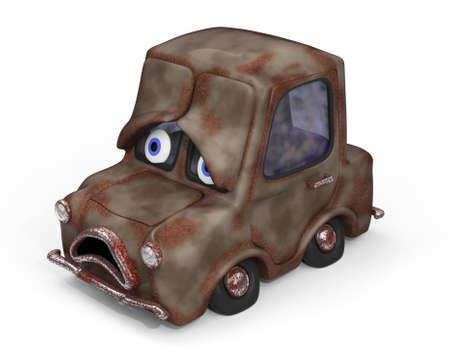 unwashed: Sad, old, unloved car 3D illustration