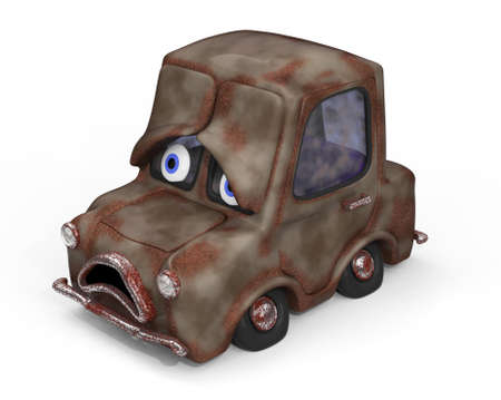 ungeliebt: Traurig, alt, ungeliebt Auto 3D-Darstellung
