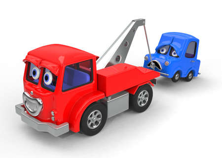 tow truck: Sad, broken down car being towed 3D illustration