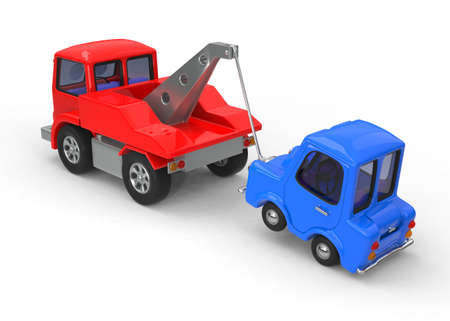 Sad, broken down car being towed 3D illustration