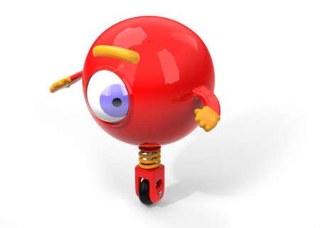 off balance: Individual Japanese kawaii style character 3D illustration