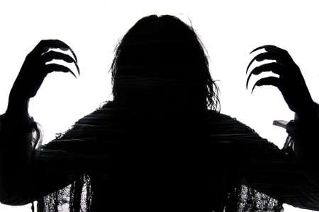 people shadow: Zombie witch shawdow with long fingernails