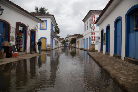 Traditional Brazilian Street Flooded with Water