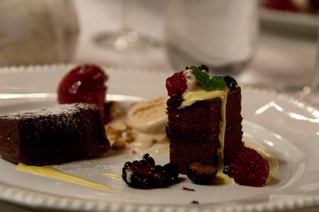 Chocolate Cake Desert with Raspberry and Ice Cream