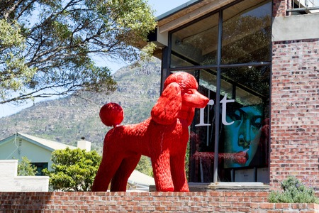 Red Dog Sculpture in Capetown Stock Photo