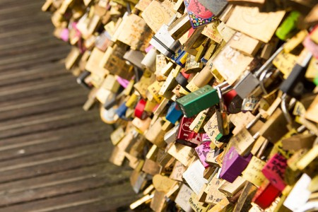 Padlocks on Paris Bridge as Sign of Love