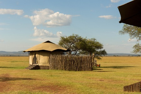 Luxury African Safari Camp in a Beautiful Park Setting Stock Photo
