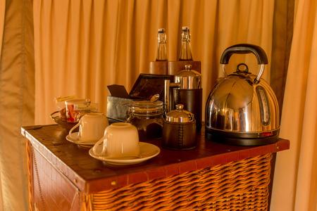 Coffee Table in Safari Tent Stock Photo