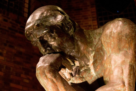 Rodin The Thinker Sculpture Closeup Stock Photo