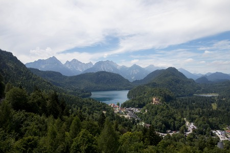 Lake, Village and Castle in front of German Alps