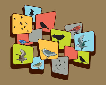 Birds and a design on a brown background. Banco de Imagens
