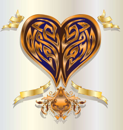 declaration: Retro  baroque stylized tribal shaped heart in gold  copper with ribbons  banners. Stock Photo