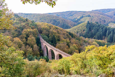 View on a bridge with railroad tracks through the forest in the Eifel mountains, Germany Stock Photo