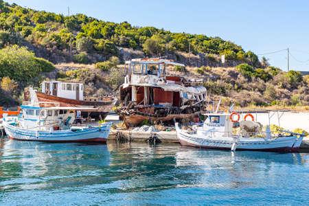 Boats in the port of Kassiopi, Corfu Island, Greece