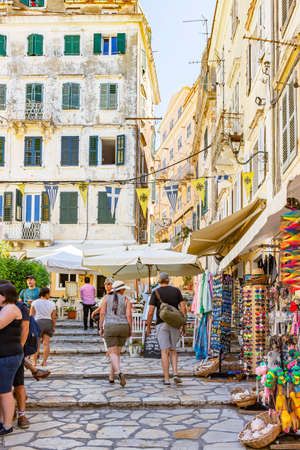 The colorful and tourist streets or Corfu Town, Corfu, Greece Reklamní fotografie