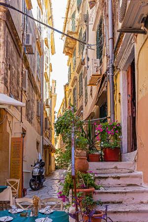 The narrow colorful and tourist streets or Corfu Town, Corfu, Greece Reklamní fotografie