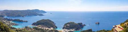 Panorama picture of the seaside resort of Paleokastritsa on Corfu, Greece Reklamní fotografie