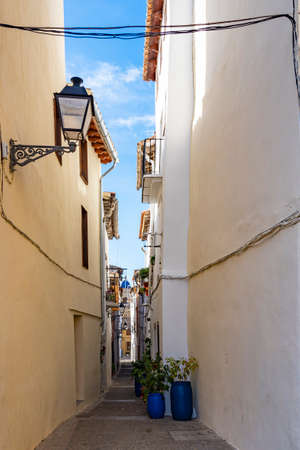 One of the many old typical Spanish streets (Calle Collada) in Requena, Spain