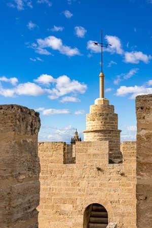 The spire and the battlements of the Porta de Sarrans, Valencia, Spain