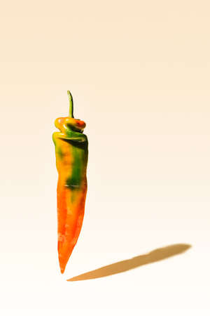 Abstract concept of yummy fresh unique shape pepper floating in the air withs its shadow on a light beage background. Stock fotó