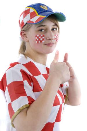 nger: Kroatienfan mit Gesichtsbemalung Stock Photo