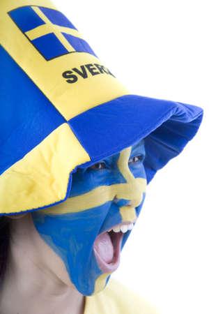 fanaticism: Sweden Fan Stock Photo