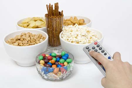 chips peanuts popcorn salted sticks snacks Stock Photo - 2806813